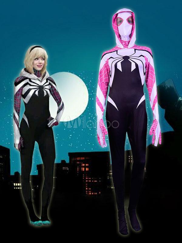 Women's Spiderman Catsuit Costume Halloween Hooded Lycra Spandex Zentai Jumpsuit Halloween