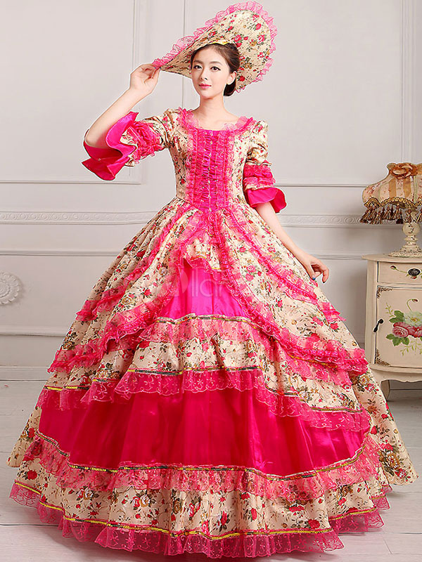Womens Vintage Costume Victorian Ball Gown Floral Print Dress With Hat