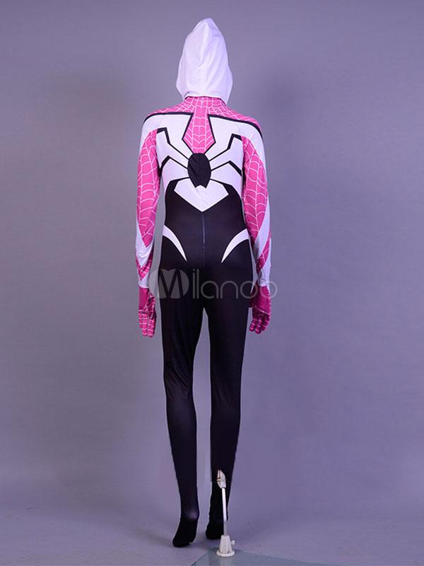 Gwen Stacy Cosplay Costume Ragno Donna Catsuit Halloween Lycra Spandex Zentai