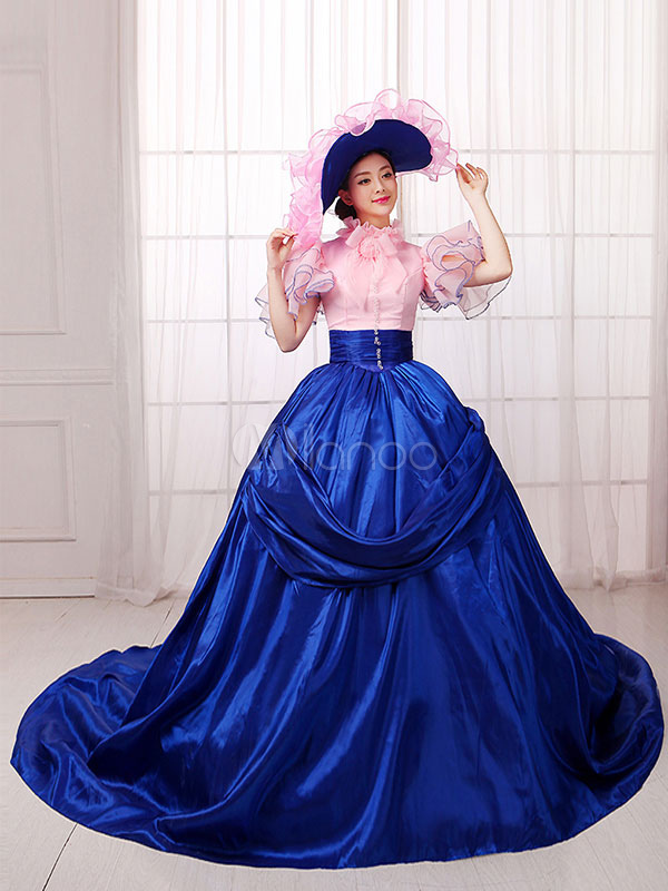 Buy Women's Vintage Costume Victorian Royal Halloween Ball Gown Royal Blue Pageant Dress Halloween for $130.99 in Milanoo store