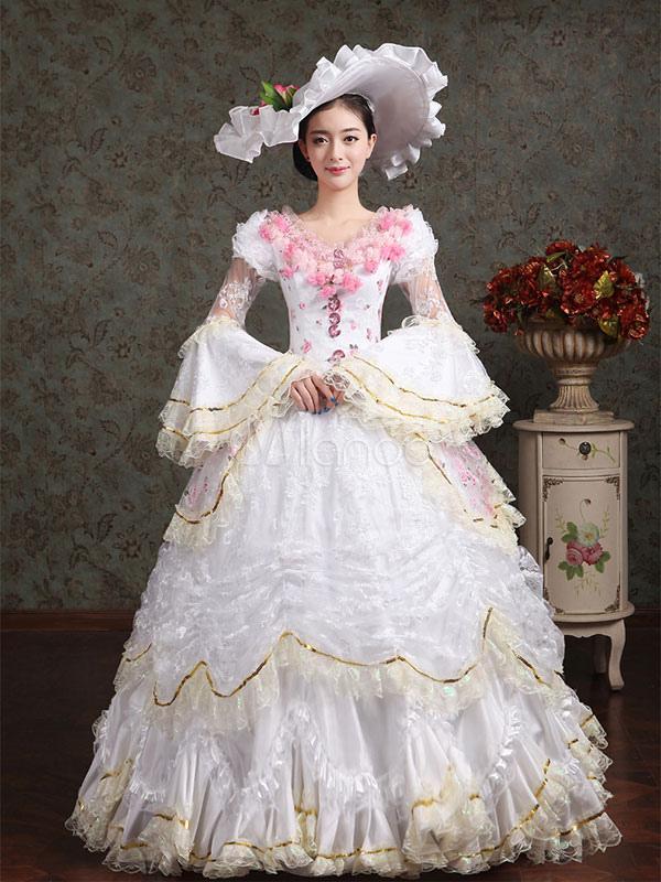 Traje De La época Victoriana Blanco Desfile Vestido De Encaje De Las Mujeres