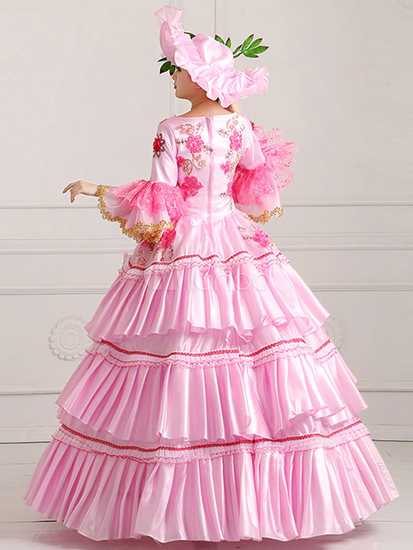 damen vintage kost m viktorianische k nigliche karneval ball kleid rosa festzug kleid karneval. Black Bedroom Furniture Sets. Home Design Ideas
