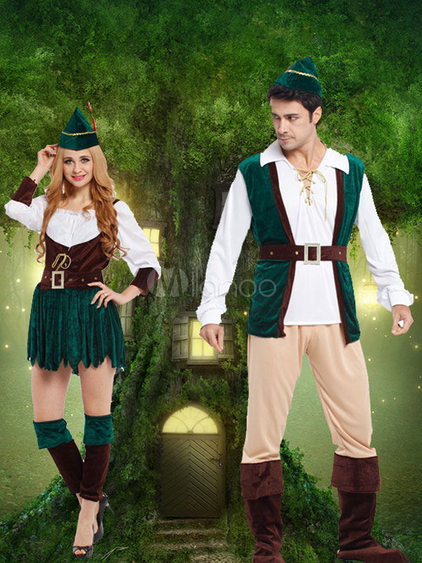 Buy Halloween Couple Costume Robin Hood Saint Patrick's Day Green Outfit for $77.99 in Milanoo store
