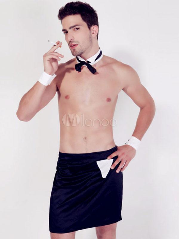 Sistema de siervo desnudo de los hombres Sexy Maid traje negra 4 ...