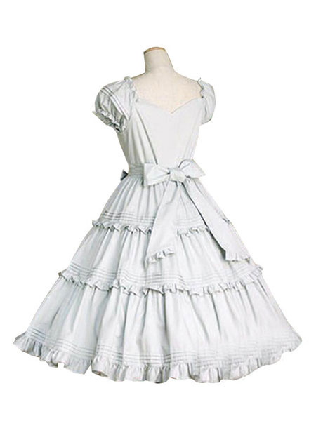 Buy Sweet Lolita Dress OP White Cotton Short Sleeve Lolita One Piece Dress for $85.99 in Milanoo store