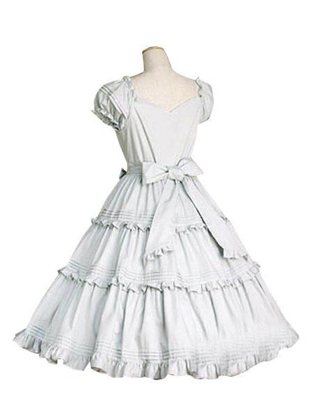 Buy Sweet Lolita Dress OP White Cotton Short Sleeve Lolita One Piece Dress for $68.79 in Milanoo store
