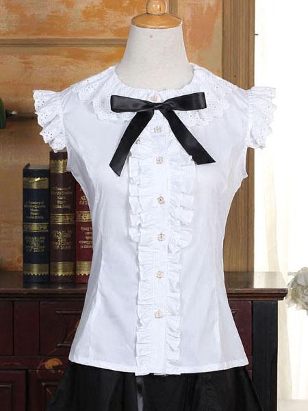 Buy Sweet Lolita Blouse White Cotton Short Sleeve Lolita Shirt for $56.11 in Milanoo store