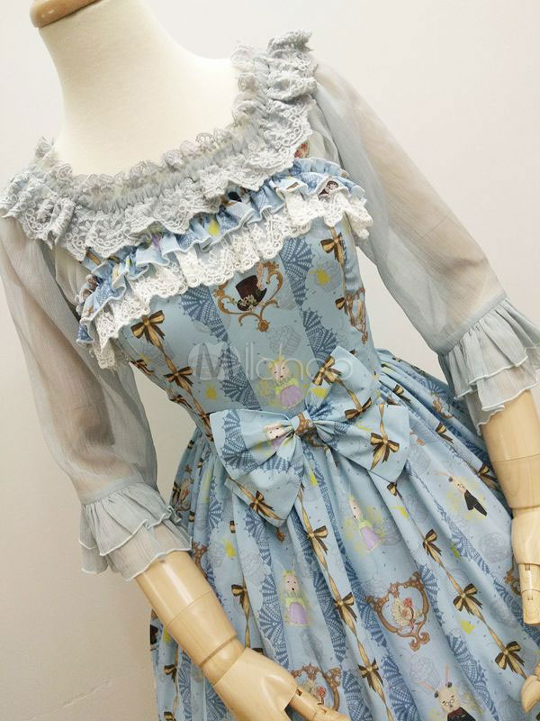 Buy Sweet Lolita Dress JSK Light Sky Blue Ladies And Gentlemen Printed Lolita Jumper Skirt for $110.19 in Milanoo store