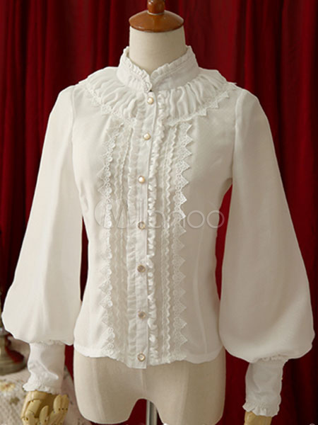 Buy Sweet Lolita Blouse White Stand Collar Long Sleeve Lolita Shirt for $56.11 in Milanoo store