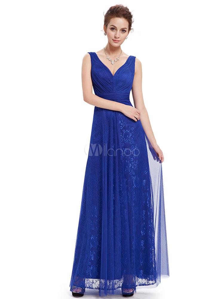 7b8f90b96a3a ... Abiti da damigella lunghi abbagliante blu pizzo V collo una linea di abito  da sposa partito ...