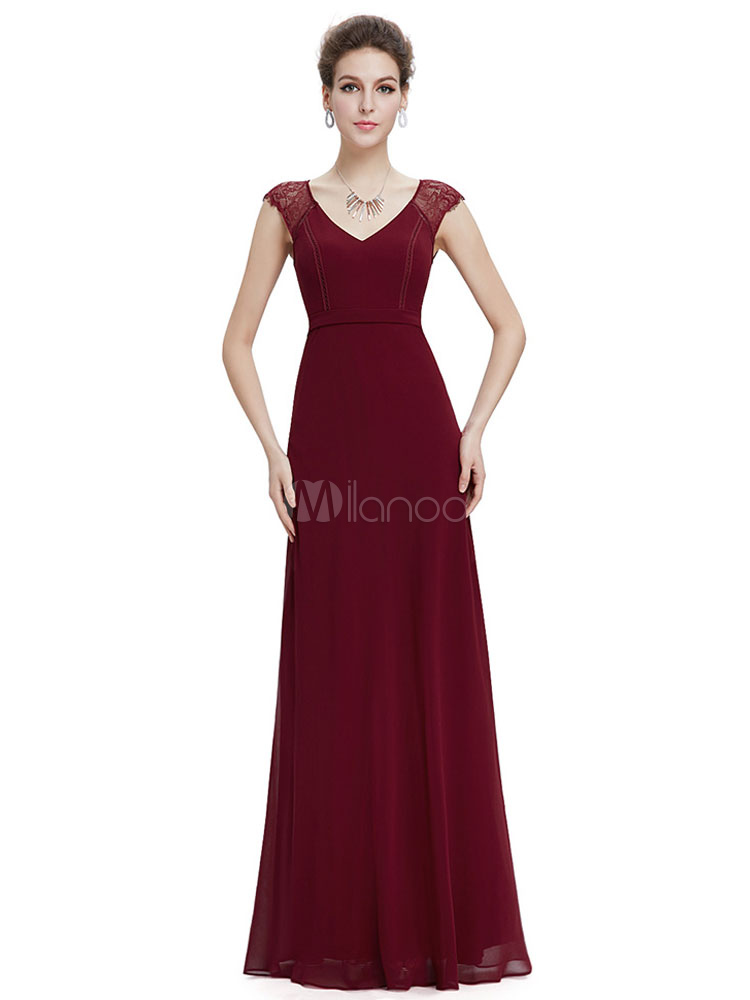 Maxi Mutter Kleid Burgund Chiffon Abendkleid V Neck Lace Insert A ...