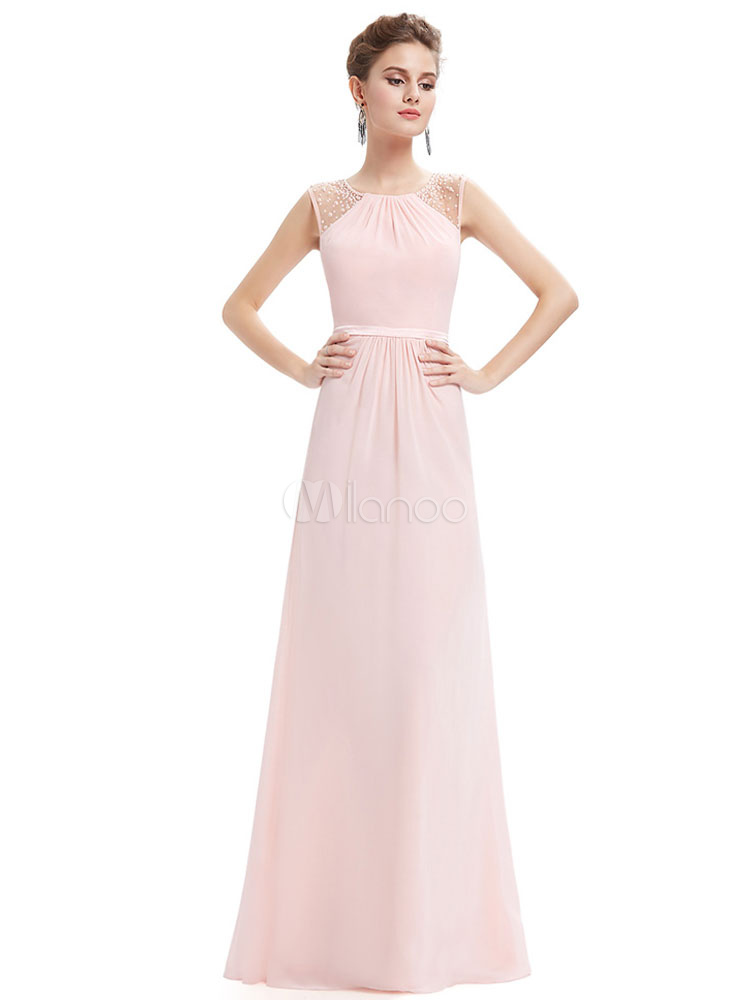 Buy Blush Prom Dress Soft Pink Party Dress Chiffon Illusion Beading Keyhole Back A Line Floor Length Occasion Dress for $127.59 in Milanoo store