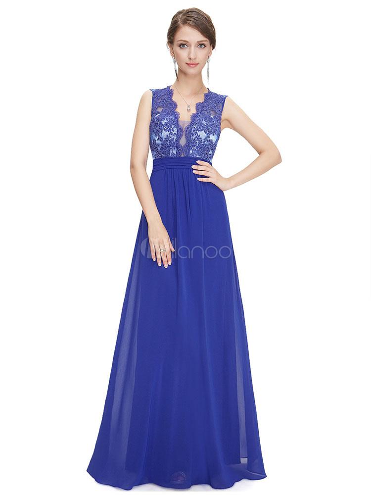 vestidos de gala de azul francia con cuello en V sin mangas de ...