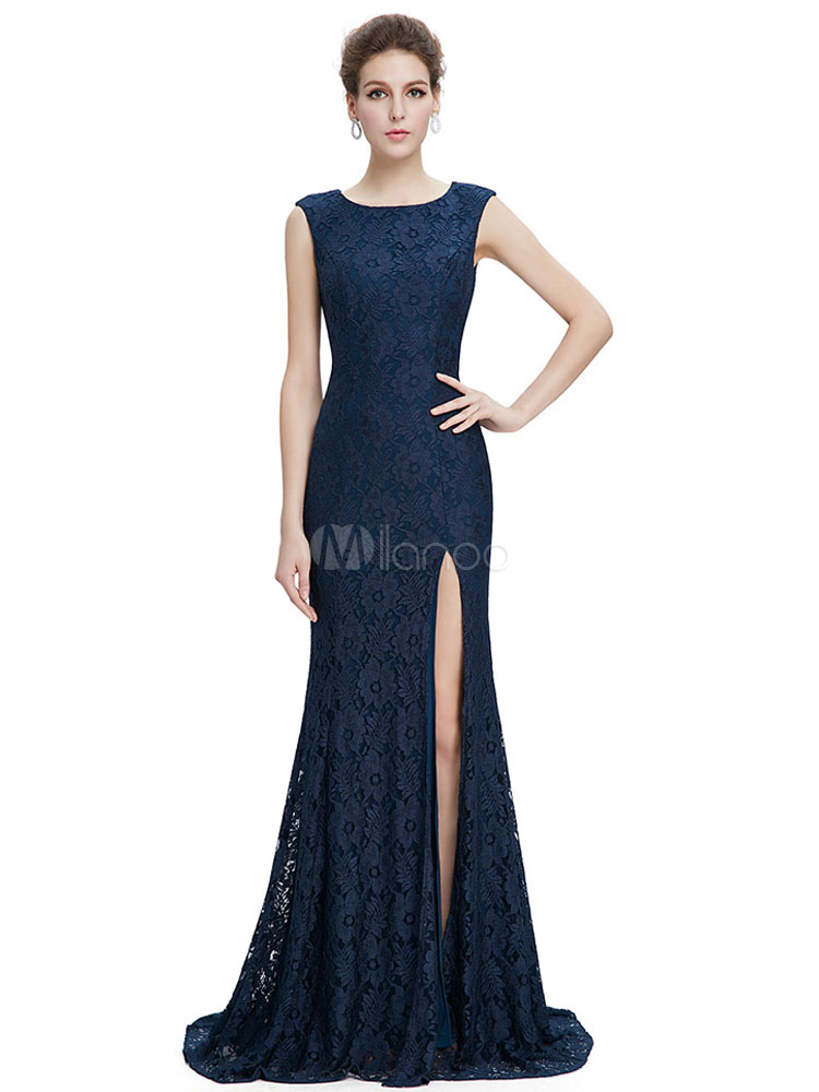 Buy Lace Mother Of The Bride Dress Royal Blue Mermaid Evening Dress Split Wedding Guest Dresses With Train for $145.19 in Milanoo store