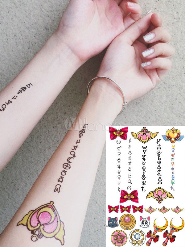 Sailormoon Logo Kawaii Temporary Tattoo Halloween Milanoo Com