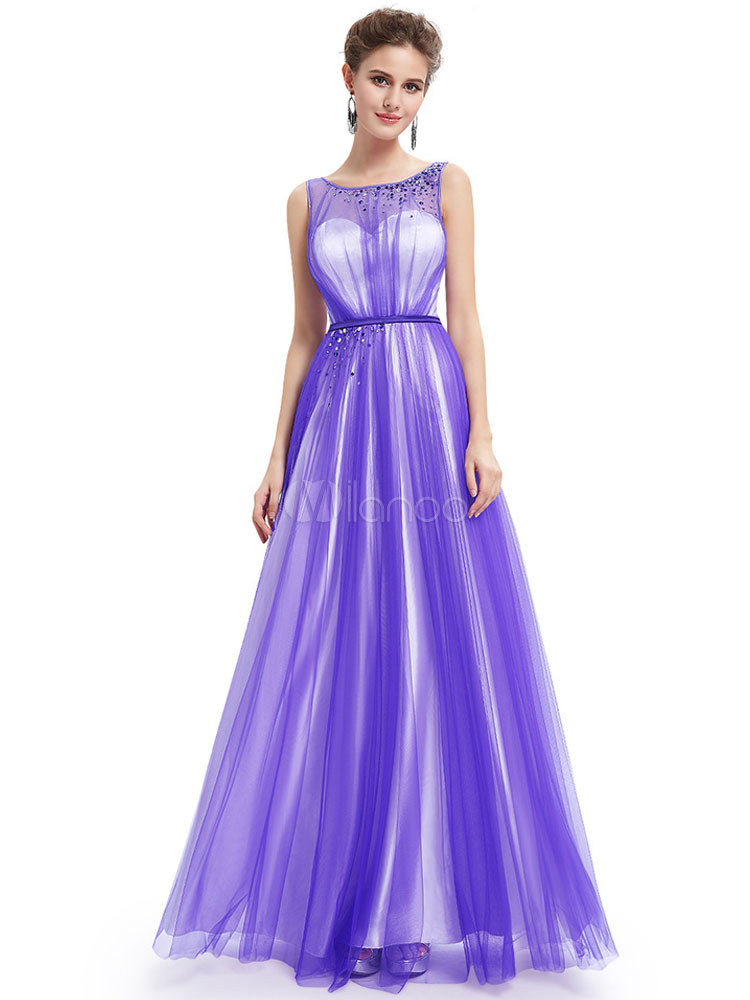 Buy Long Prom Dress Lavender Backless Tulle Party Dress Sweetheart Illusion Neckline Beading A Line Floor Length Occasion Dress for $127.59 in Milanoo store