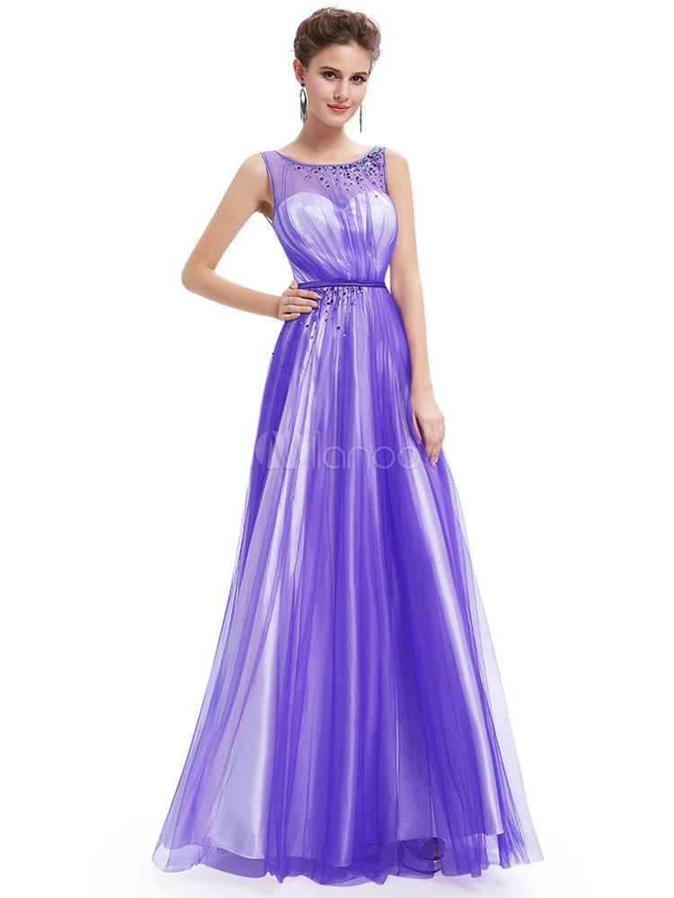 vestidos de gala de color lavanda Escote transparente sin mangas con ...