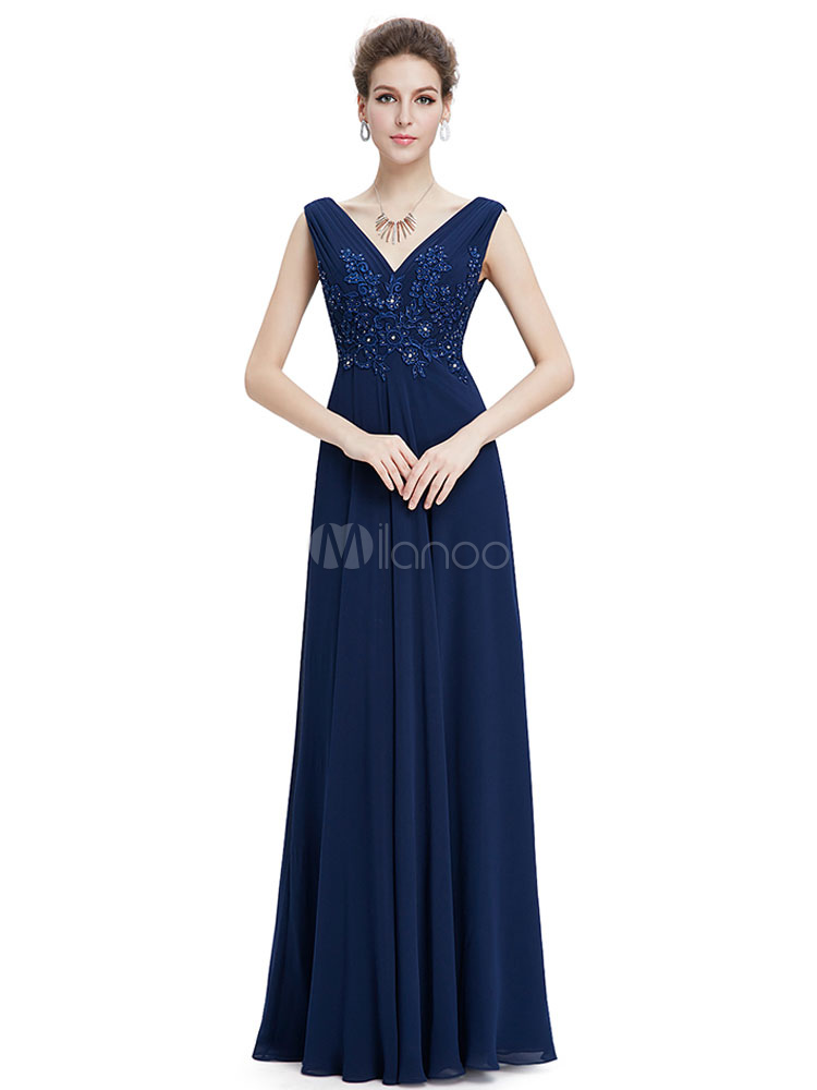Buy Mother Of The Bride Dress Long Evening Dress Royal Blue Chiffon Lace Applique Beading V Neck A Line Maxi Wedding Guest Dresses for $127.59 in Milanoo store