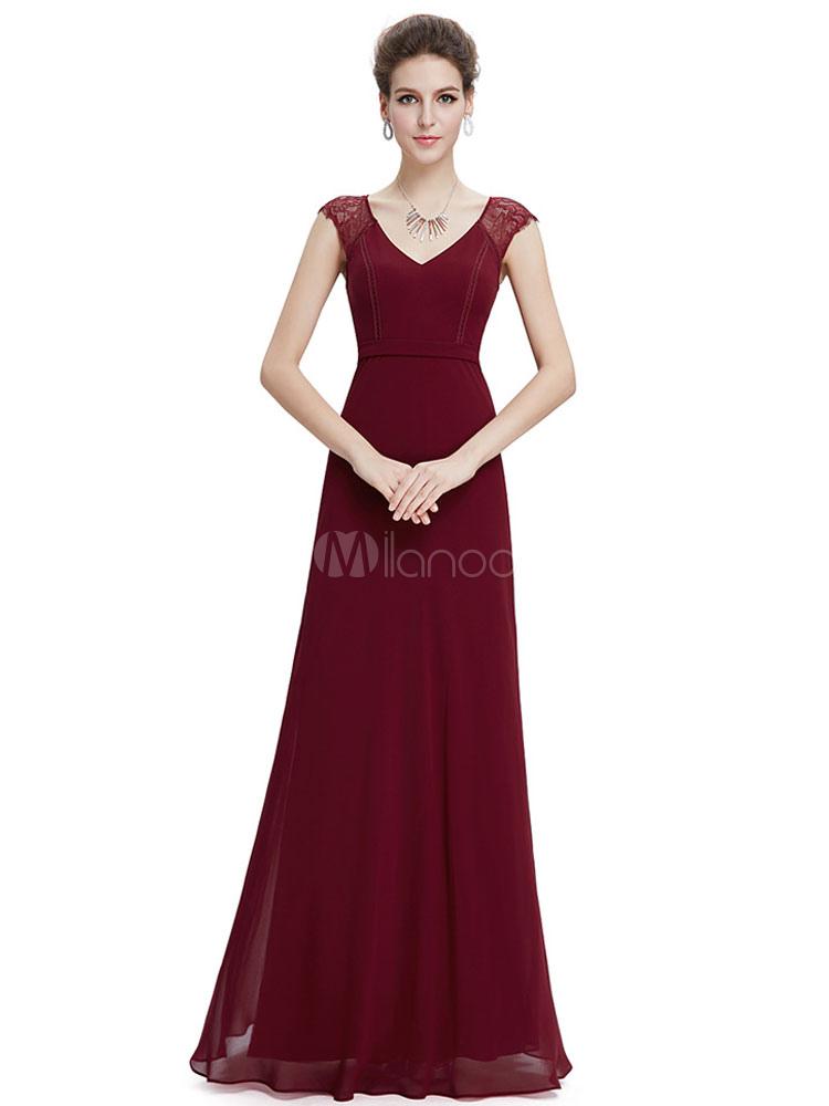 Maxi Mutter Kleid Burgund Chiffon Abendkleid V Neck Lace Insert A ...