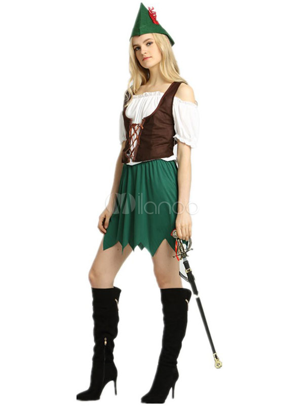 Buy Sexy Robin Hood Costume Halloween Saint Patrick's Day Fairy Cosplay Costume Green Party Dress Outfit For Women Halloween for $27.99 in Milanoo store