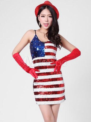 Sexy Fantasia Carnevale Bandiera Paillettes Americana Donna Costume OXkZuPi
