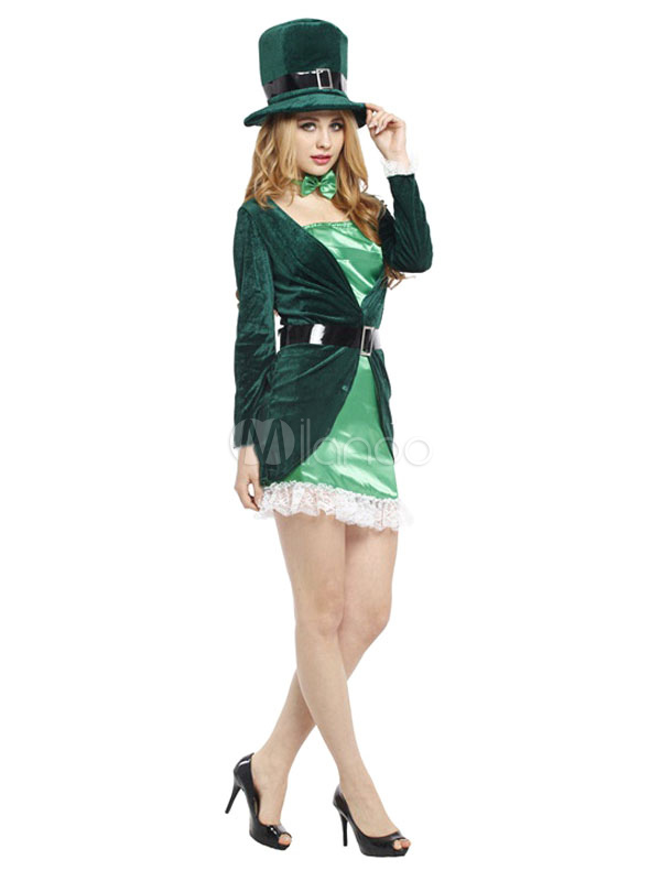 ... Halloween Magician Costume Womenu0027s Green Party Dress ...  sc 1 st  Milanoo.com & Halloween Magician Costume Womenu0027s Green Party Dress Outfit ...