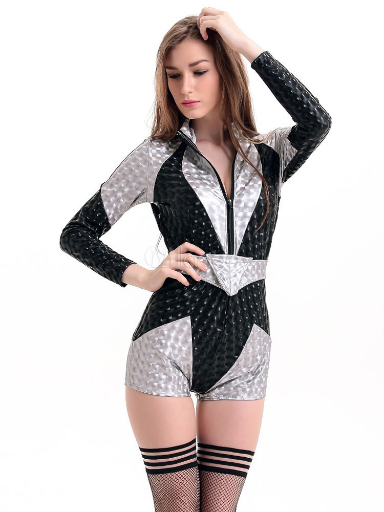 7a36e0bf71 ... Sexy Fantasy Costume Halloween Women s Silver Playsuit With Sash  Halloween-No.8. 12