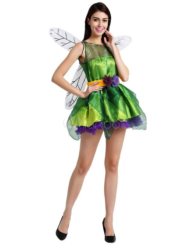 Vestito partito verde giorno femminile Carnevale Sexy Fairy Costume San  Patrizio con le ali Carnevale- ... cbda20895f1