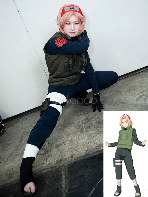 Naruto Haruno Sakura Chunin Cosplay Costume School Girl Uniform Halloween