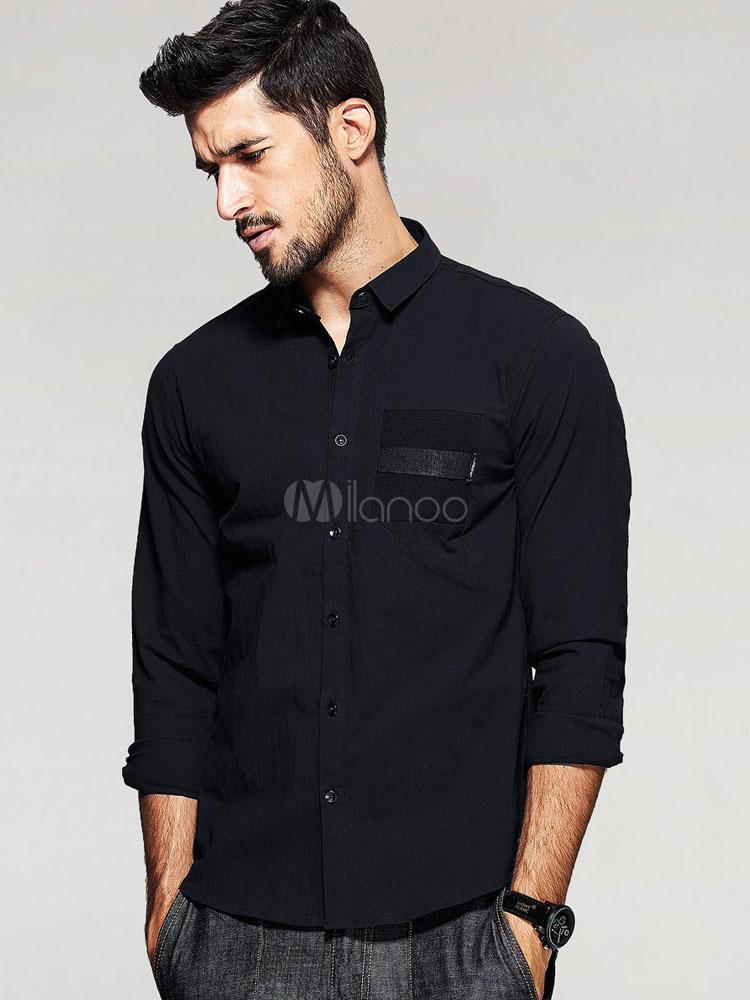 396f8aa11b5 Мужская черная рубашка хлопок длинные рукава кнопки Повседневная рубашка-No.1  ...