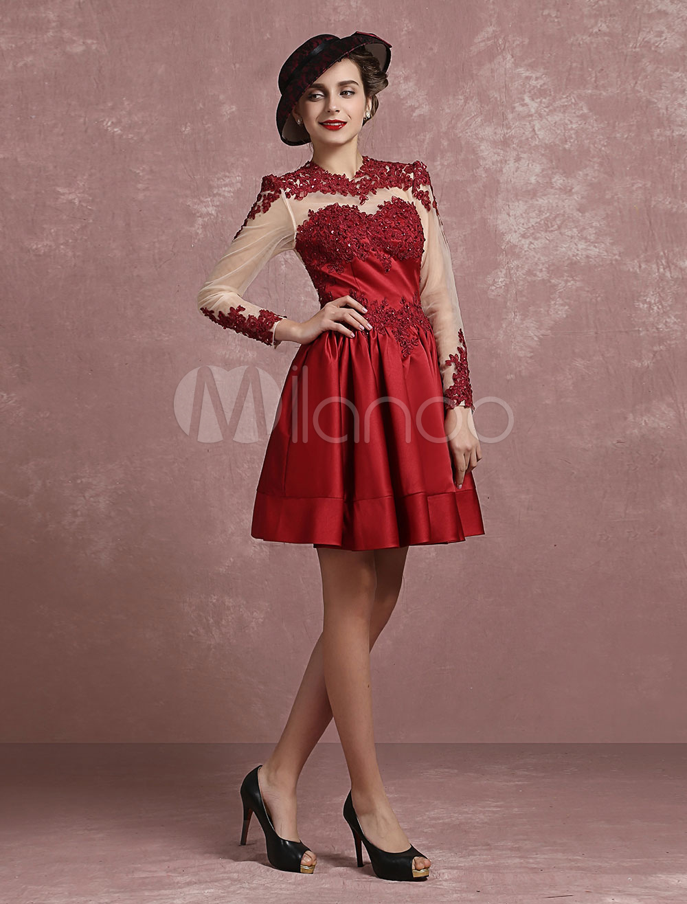 Buy Satin Homecoming Dress Vintage Illusion Lace Applique Beaded Cocktail Dress Burgundy Jewel Long Sleeve Pleated A Line Short Party Dress for $110.49 in Milanoo store