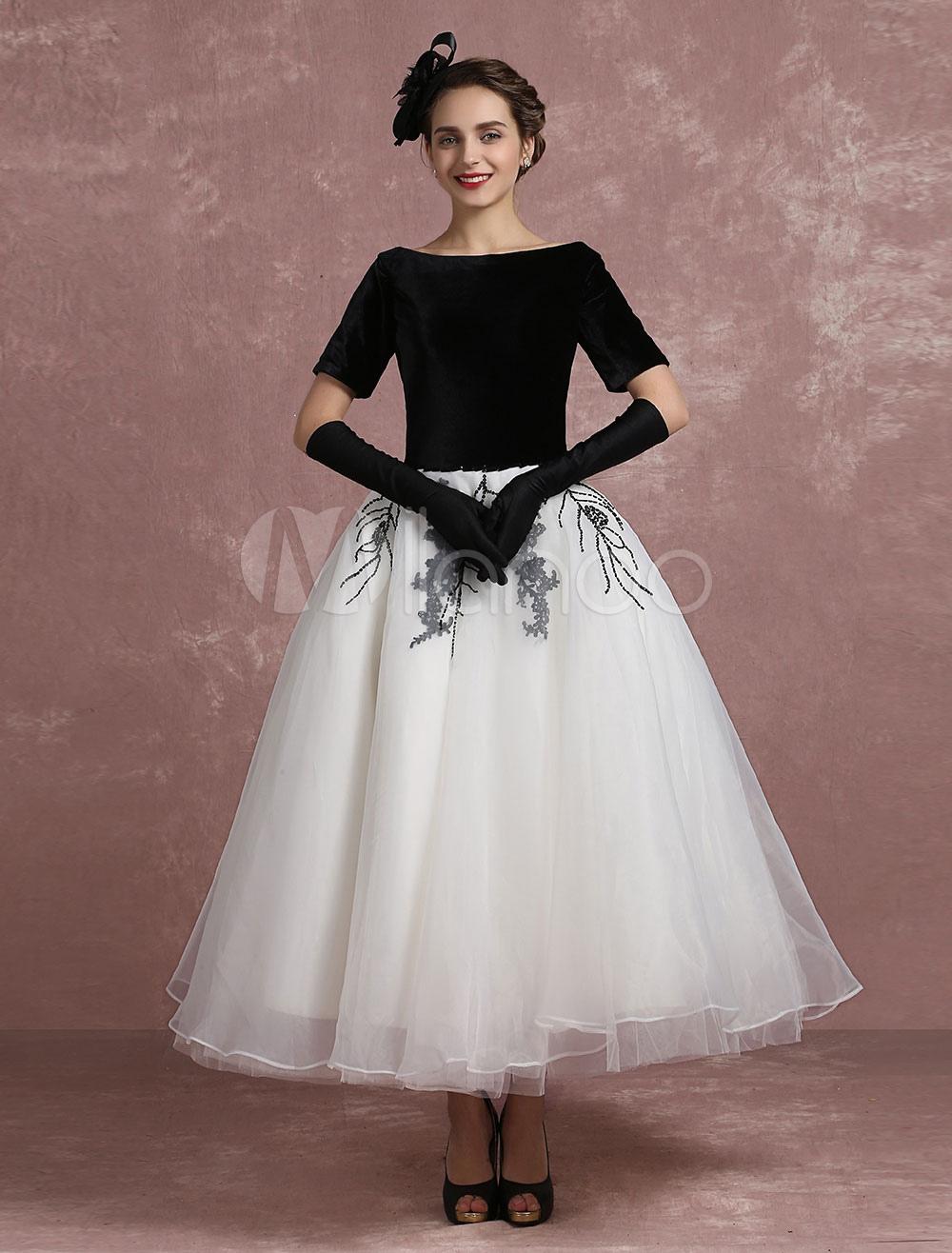 450727ef2317 Vintage Cocktail Dress Black Applique Beaded Prom Dress Velvet ...
