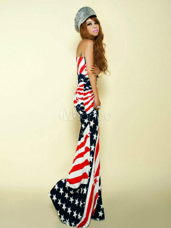 drapeau am ricain bodycon maxi dress sexy costumes patriotiques halloween f minines halloween. Black Bedroom Furniture Sets. Home Design Ideas