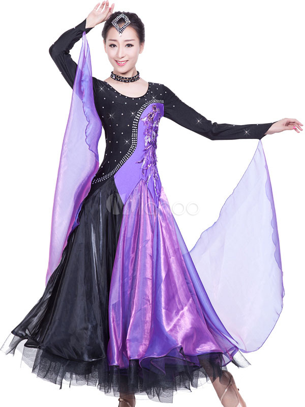 Vestido de baile de salón Bailarín de salón de rayón de organza para ...