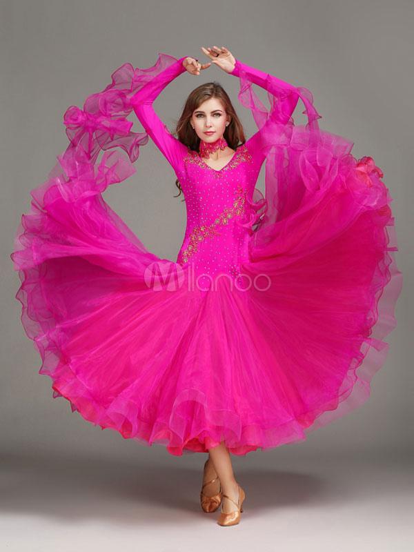 c23428d2744e Ballroom Dance Dress Rose Tulle Ruffle Long Sleeve Ballroom Dancing Costume-No.1  ...