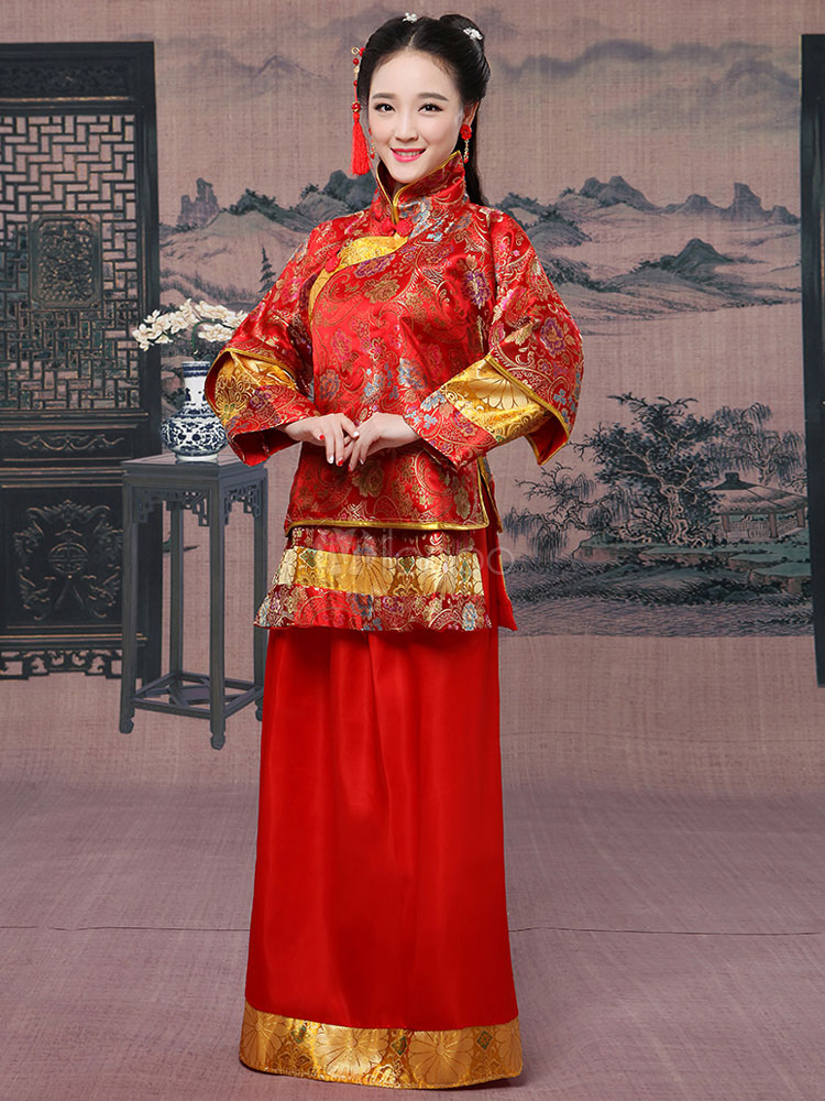 Buy Halloween Chinese Costume Women's Traditional Wedding Matchmaker Red Fancy Dress for $47.99 in Milanoo store