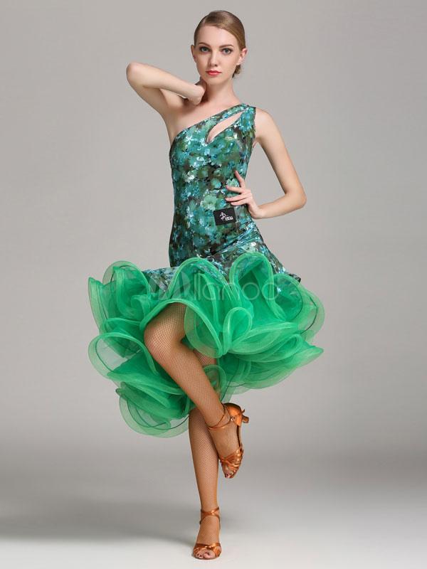 Latin Dance Kleid grün Schulter Rüschen Latein Tanzen Kostüm ...