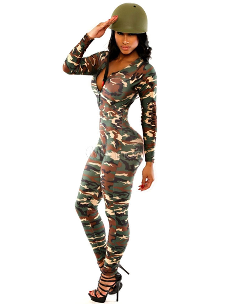 Karneval Army Hut Kostüm Mit Camo Bodycon Overall Militär Sexy Damen ZiuXOPk