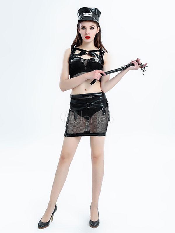 Sex Cop Costume Halloween Women's Black PU Mini Skirt Outfit Halloween