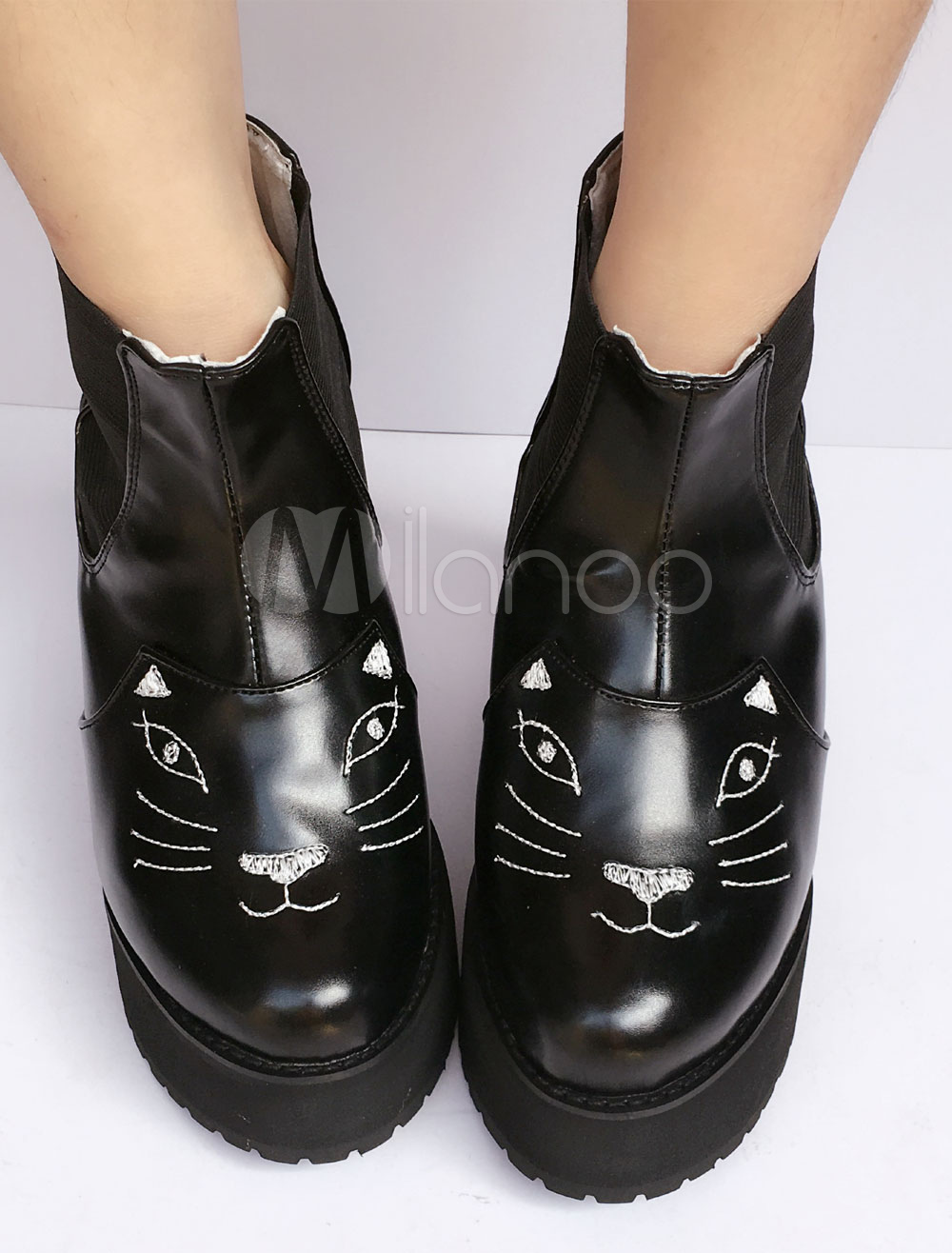 Buy Sweet Lolita Shoes Black Cat Platform Round Toe Lolita Boots for $109.99 in Milanoo store