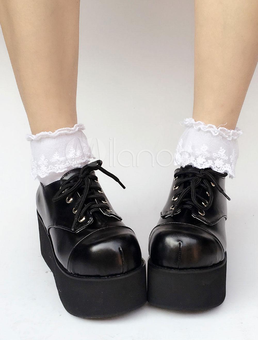 Sweet Lolita Shoes Black Platform Lace Up Round Toe Lolita Boots
