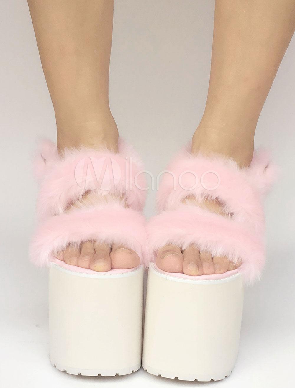 Sweet Lolita Shoes Pink Faux Fur Platform Chunky Heel Lolita Sandals
