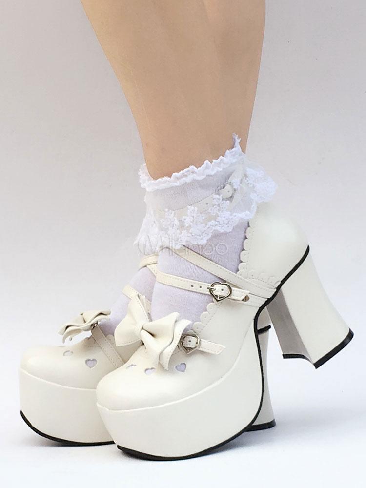 Zapatos de lolita de PU de puntera cuadrada con lazo blancos estilo street wear rUxJTjKRt