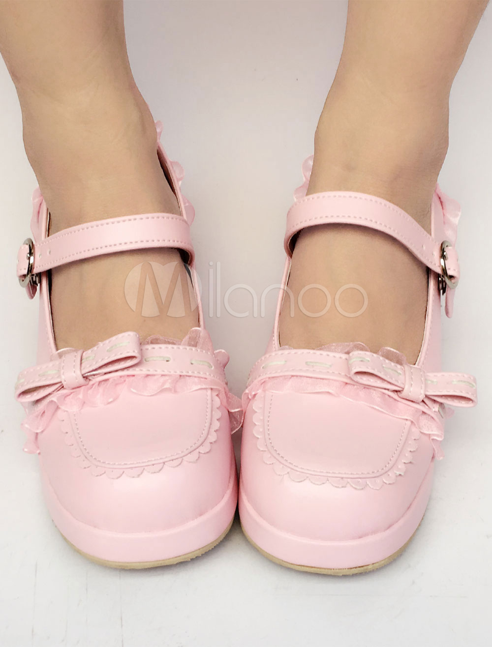 Buy Sweet Lolita Shoes Pink Bow Straps Round Toe Lolita Pumps for $66.59 in Milanoo store