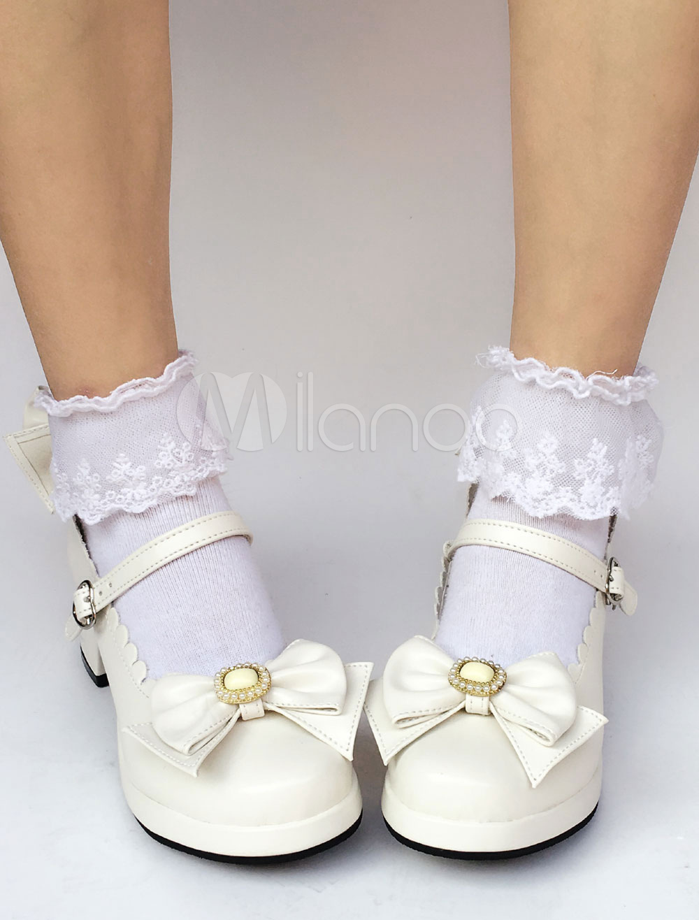 Buy Sweet Lolita Shoes White Bow Round Toe Lolita Pumps for $64.79 in Milanoo store