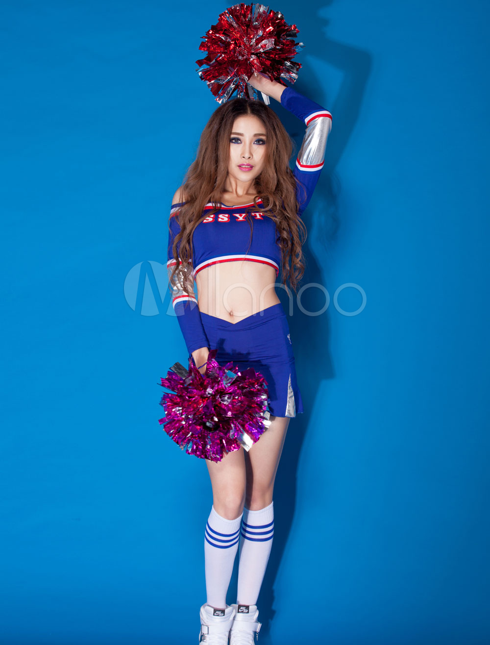 21e654ac2d3 Sexy Basketball Girl Costume Royal Blue Crop Top With Skirt Hot Cheerleader  Costume