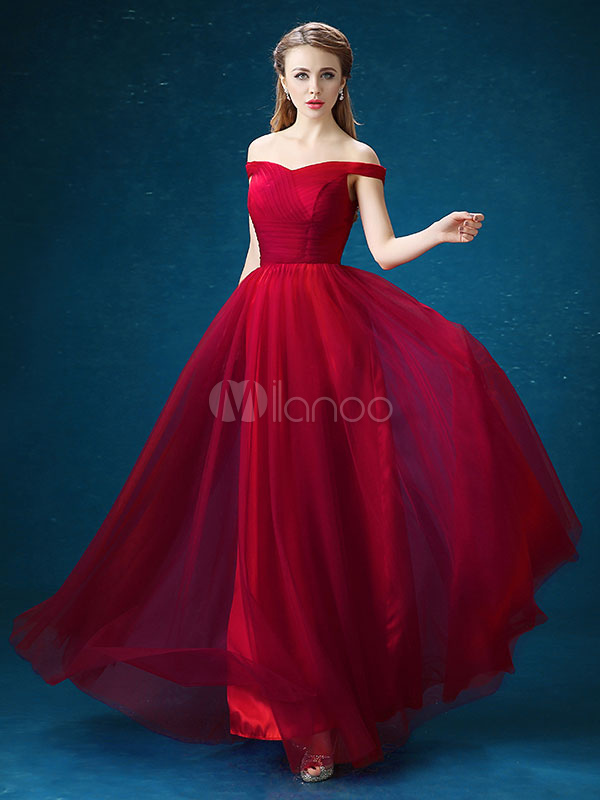 Buy Red Prom Dresses 2018 Long Off The Shoulder Prom Dress Burgundy Tulle Pleated A Line Floor Length Evening Dress for $114.39 in Milanoo store