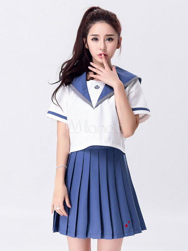 Buy Japanese Anime Cosplay School Girl Uniform Sailor Suit Blue Uniform Halloween for $48.75 in Milanoo store