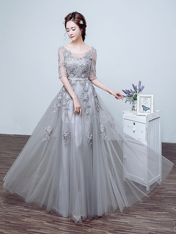 Buy Silver Prom Dress Tulle Backless Party Dress Lace Applique Beading Illusion Half Sleeve Scoop Neckline A Line Maxi Occasion Dress for $114.39 in Milanoo store