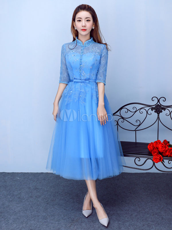 Buy Tulle Cocktail Dress Blue Prom Dress Lace Beading Stand Collar Button Half Sleeve A Line Tea Length Homecoming Dress With Bow Sash for $123.19 in Milanoo store